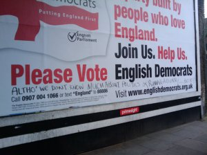 English Democrat billboard graffiti